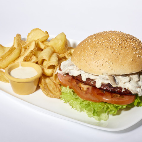 Mushroom Burger   GREASE AMERICAN GRILL